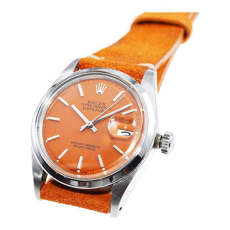 Rolex Stainless Steel Vintage Datejust with Custom Orange Dial, 1970's 1