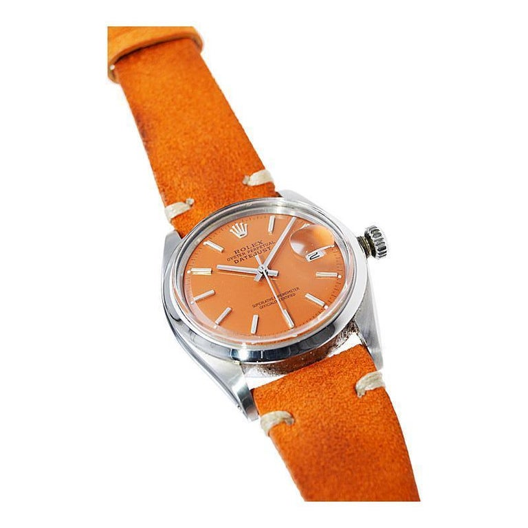 Rolex Stainless Steel Vintage Datejust with Custom Orange Dial, 1970's 2