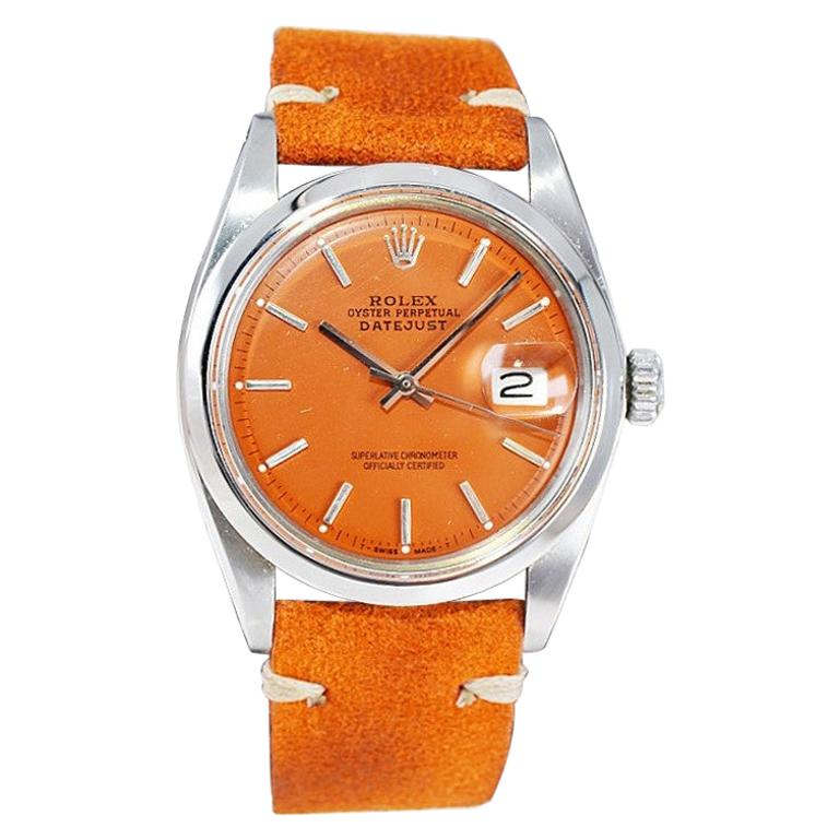 Rolex Stainless Steel Vintage Datejust with Custom Orange Dial, 1970's