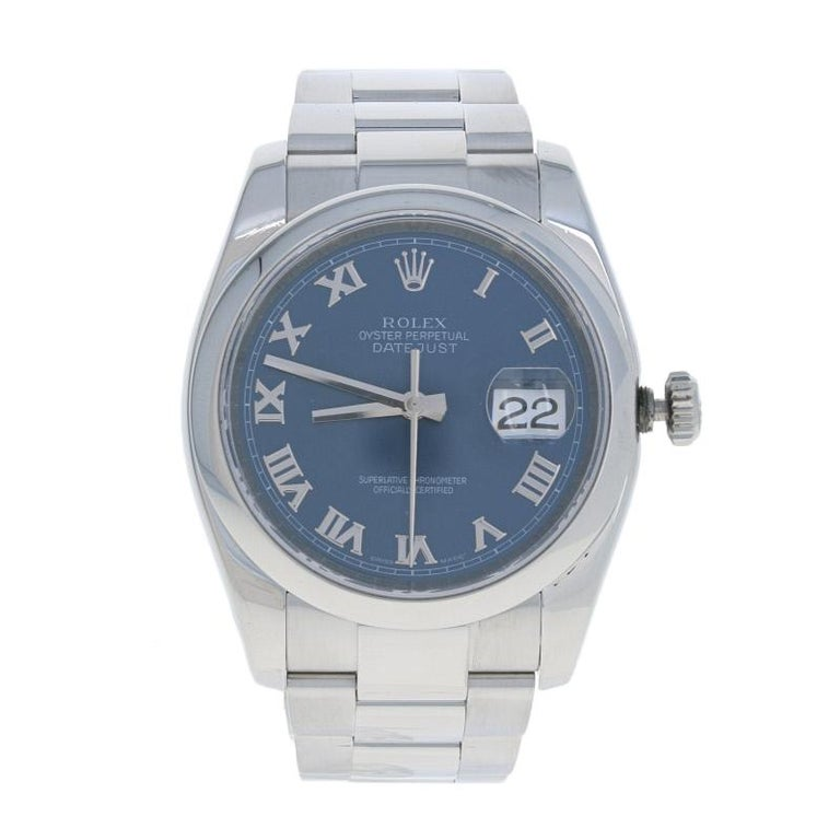 This is an authentic Rolex wristwatch. The watch has been professionally serviced and comes with a two-year warranty along with the Rolex boxes, papers, and an additional link.  Brand: Rolex Oyster Perpetual Datejust Model Number: 116200 Year Range: