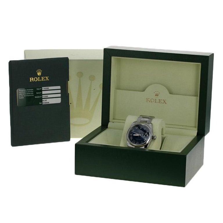 Rolex Stainless Steel Watch, Men's Datejust Automatic Blue Roman Dial 116200 For Sale 5