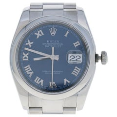 Rolex Stainless Steel Watch, Men's Datejust Automatic Blue Roman Dial 116200