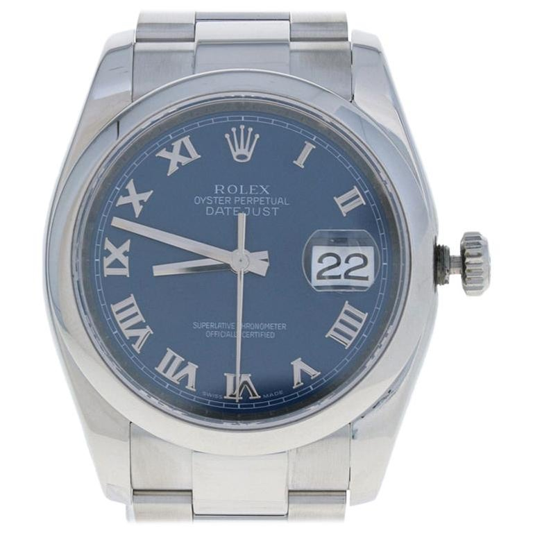Rolex Stainless Steel Watch, Men's Datejust Automatic Blue Roman Dial 116200 For Sale