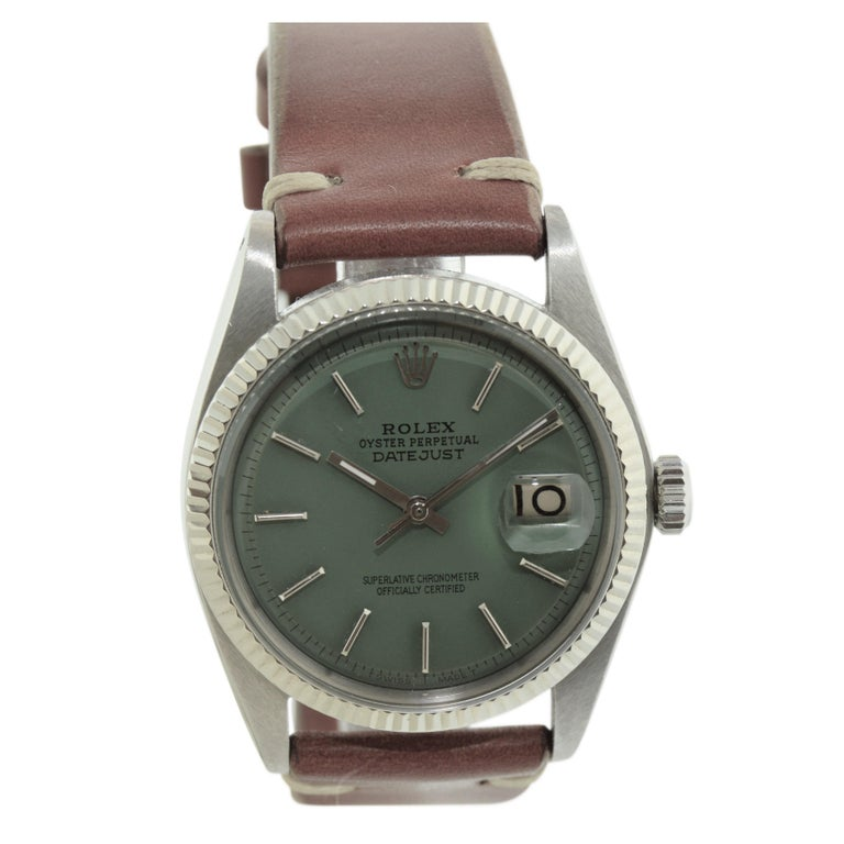 FACTORY / HOUSE: Rolex Watch Company STYLE / REFERENCE: Datejust / 1601 METAL / MATERIAL: Stainless Steel w/ White Gold Bezel DIMENSIONS:  42mm  X  34mm CIRCA: 1962 / 63 MOVEMENT / CALIBER: Perpetual Winding / 26 Jewels / Cal. 1570 DIAL / HANDS: