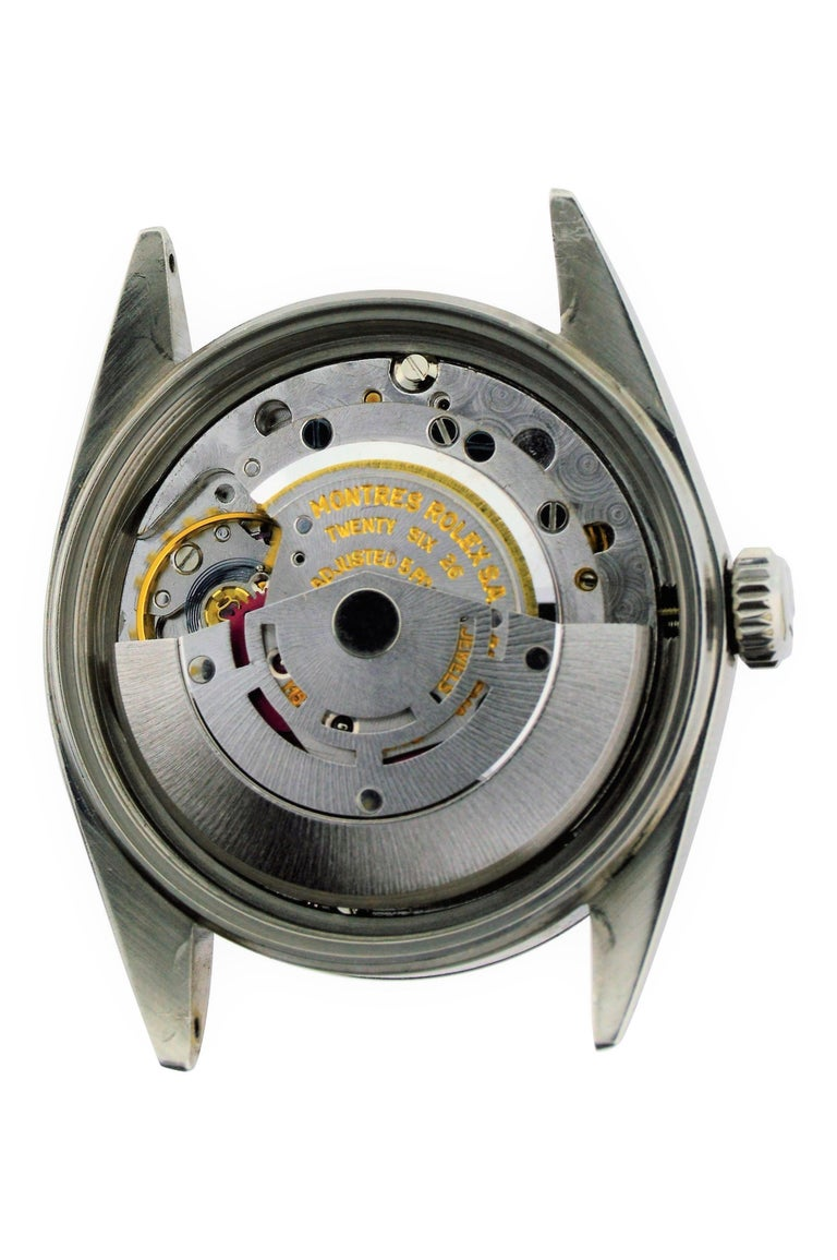 Rolex Stainless Steel White Gold Bezel Datejust Watch, circa 1962-1963 For Sale 3