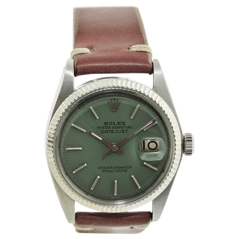 Rolex Stainless Steel White Gold Bezel Datejust Watch, circa 1962-1963 For Sale