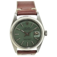 Rolex Stainless Steel White Gold Bezel Datejust Watch, circa 1962-1963