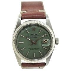 Rolex Stainless Steel White Gold Bezel Datejust Watch, circa 1962-1963