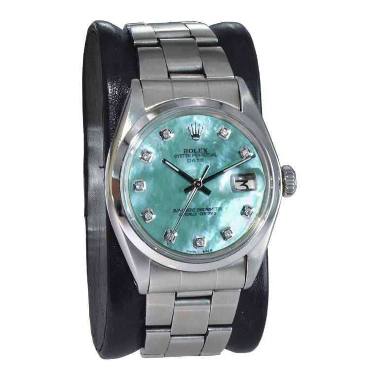 FACTORY / HOUSE: Rolex Watch Company STYLE / REFERENCE: Oyster Perpetual Date / Reference 1500 METAL / MATERIAL: Stainless Steel  CIRCA / YEAR: 1970 DIMENSIONS / SIZE: 42mm x 35mm MOVEMENT / CALIBER: Perpetual Winding / 26 Jewels / Caliber 1570 DIAL