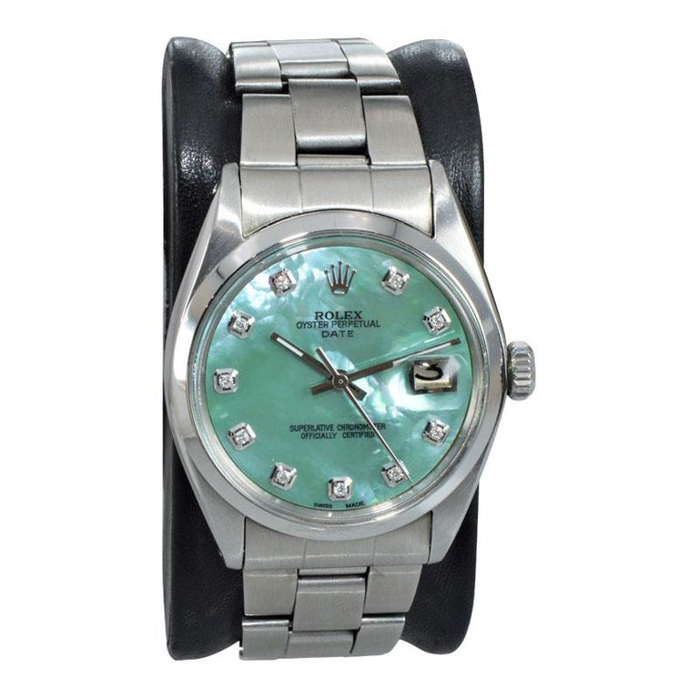 Modernist Rolex Stainless Steel with Custom Made Mother of Pearl Dial from 1970 For Sale