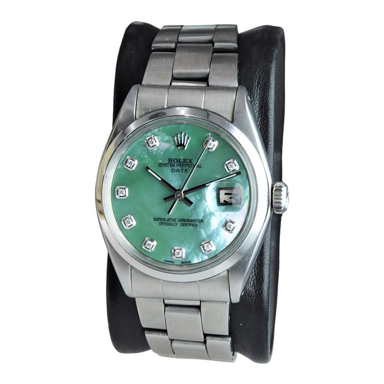 Rolex Stainless Steel with Custom Made Mother of Pearl Dial from 1970 For Sale 2
