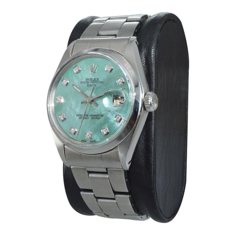 Rolex Stainless Steel with Custom Made Mother of Pearl Dial from 1970 For Sale 3