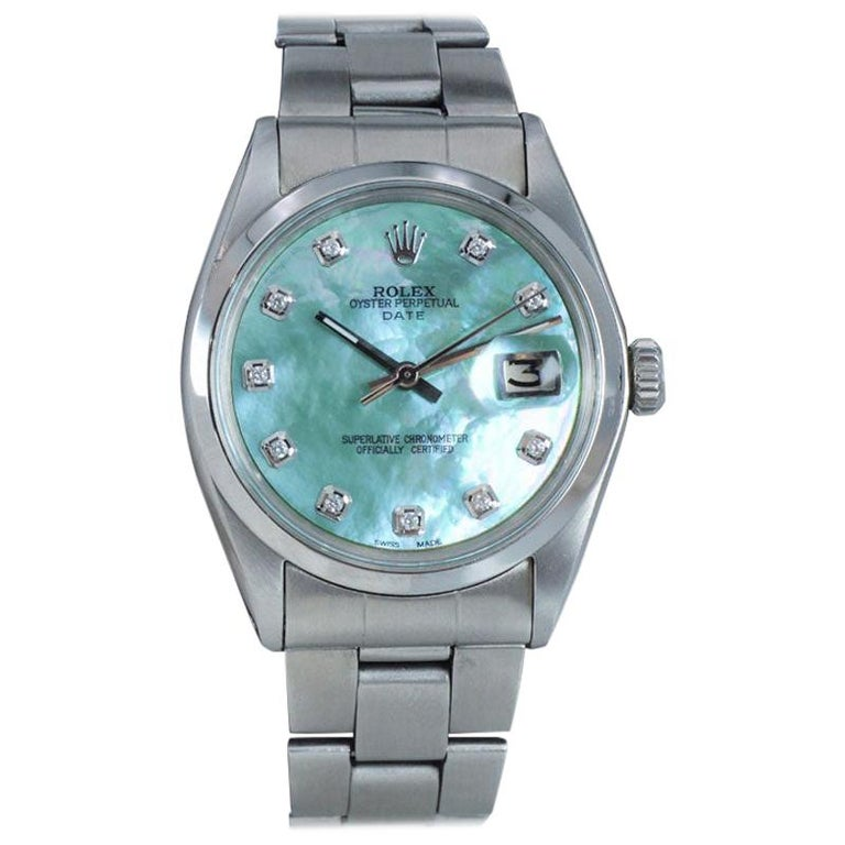 Rolex Stainless Steel with Custom Made Mother of Pearl Dial from 1970 For Sale