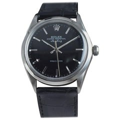 Rolex Stainless Steel Wristwatch with Original Black Dial from Late 1960's