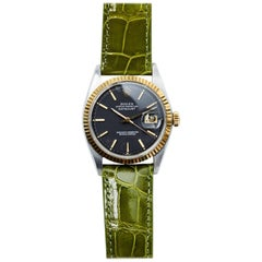 Rolex Stainless Steel Yellow Gold Charcoal Dial Datejust Automatic Wristwatch