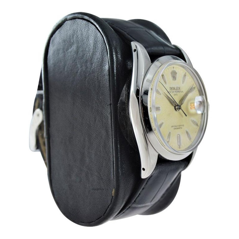 Rolex Stanless Steel Oyster Perpetual Date with Original Dial from 1957 For Sale 2