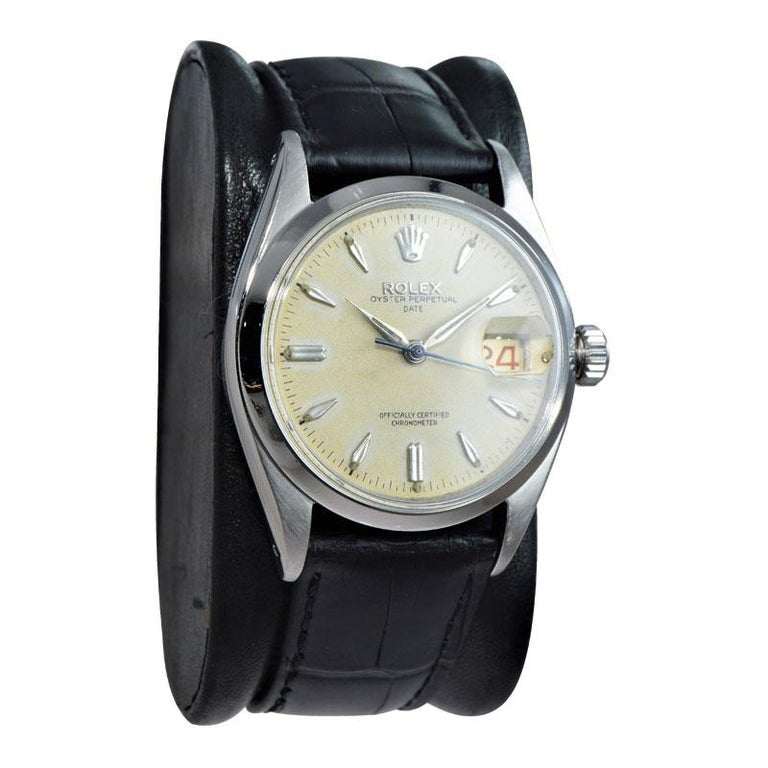 Modern Rolex Stanless Steel Oyster Perpetual Date with Original Dial from 1957 For Sale