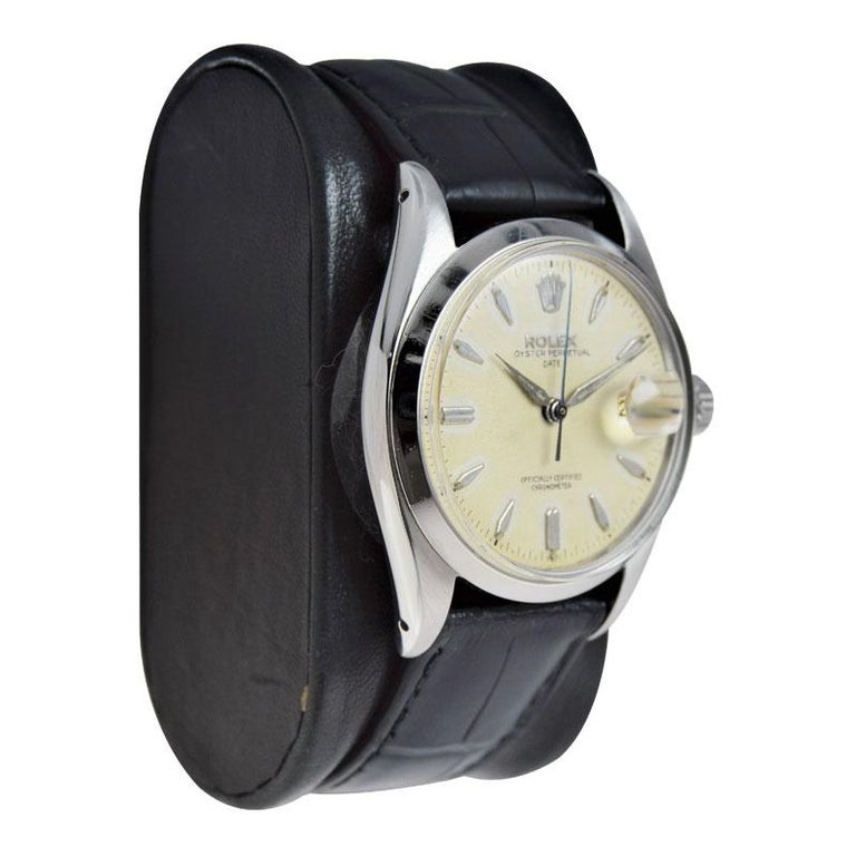 Women's or Men's Rolex Stanless Steel Oyster Perpetual Date with Original Dial from 1957 For Sale