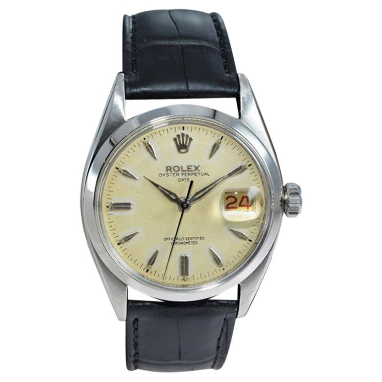 Rolex Stanless Steel Oyster Perpetual Date with Original Dial from 1957 For Sale