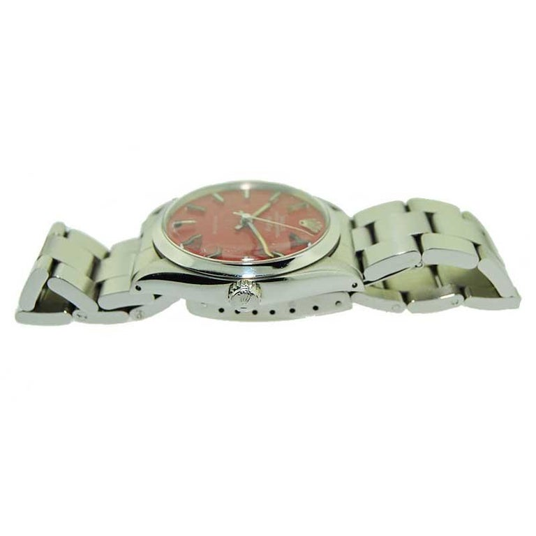 Women's or Men's Rolex Steel Air King Custom Red Dial Original Oyster Bracelet from 1980 or 1981 For Sale