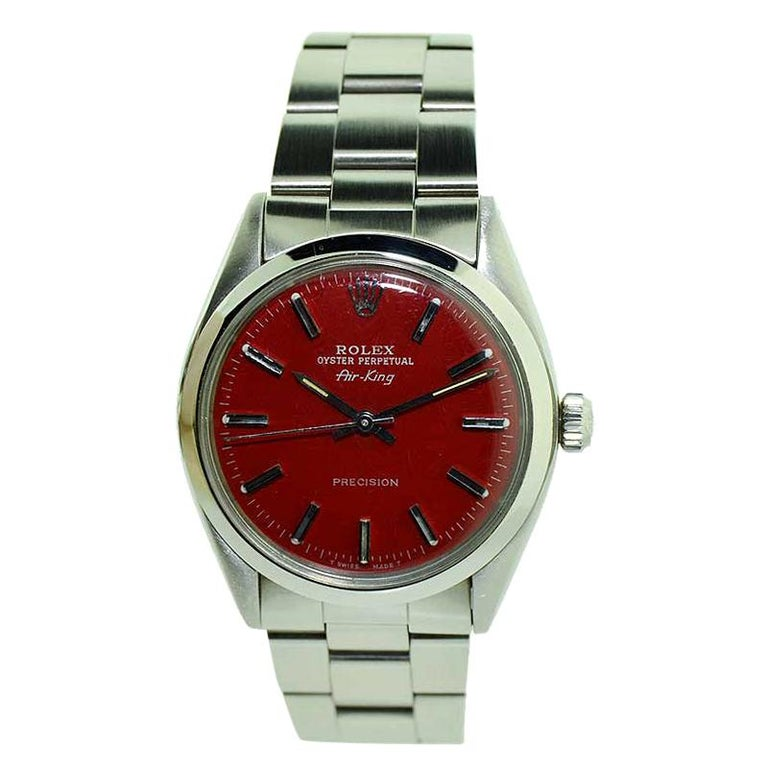 Rolex Steel Air King Custom Red Dial Original Oyster Bracelet from 1980 or 1981 For Sale