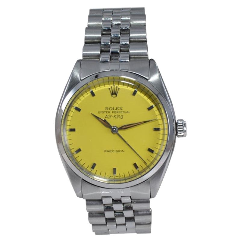 Rolex Steel Air King Custom Finished Yellow Dial Rare Jubilee Bracelet from 1962