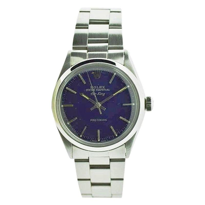 Rolex Steel Air King with Custom Blue Dial from Late 1960's