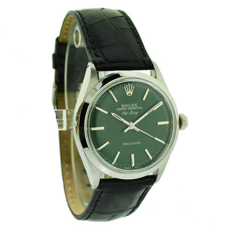 FACTORY / HOUSE: Rolex Watch Company  STYLE / REFERENCE: Air King / 5500 METAL / MATERIAL: Stainless Steel  CIRCA / YEAR: 1969 / 1970 DIMENSIONS / SIZE: 39mm X 34mm MOVEMENT / CALIBER: Perpetual Winding / 26 Jewels / Cal. 1520 DIAL / HANDS: Custom