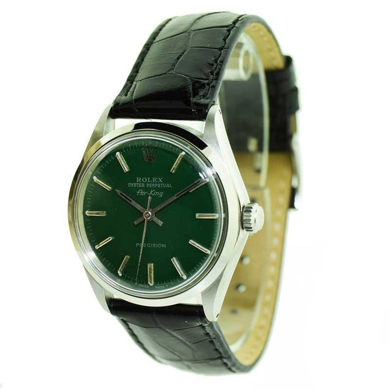 Rolex Steel Air King with Custom Green Dial from 1969 or 1970 In Excellent Condition For Sale In Venice, CA
