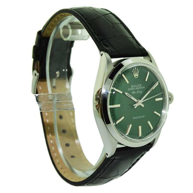 Women's or Men's Rolex Steel Air King with Custom Green Dial from 1969 or 1970 For Sale