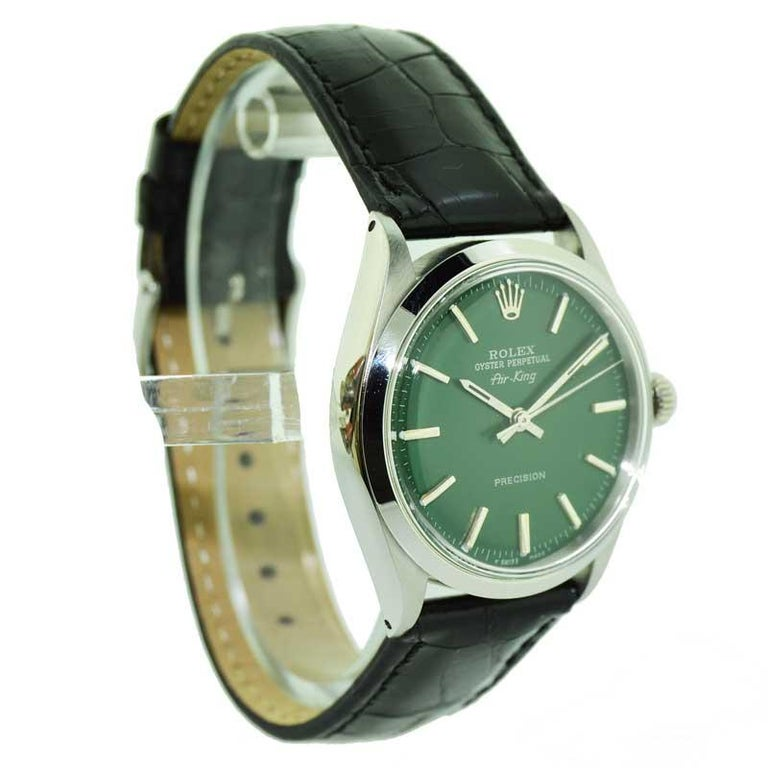 Rolex Steel Air King with Custom Green Dial from 1969 or 1970 For Sale 1