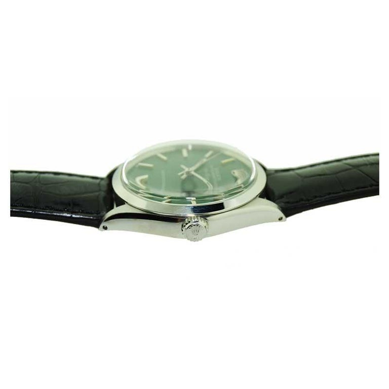 Rolex Steel Air King with Custom Green Dial from 1969 or 1970 For Sale 2