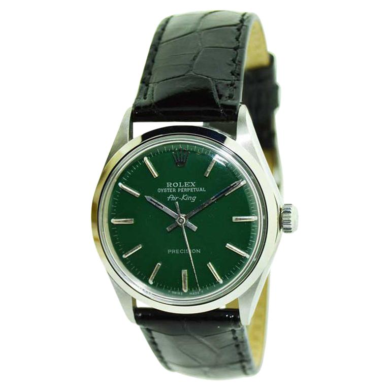 Rolex Steel Air King with Custom Green Dial from 1969 or 1970 For Sale