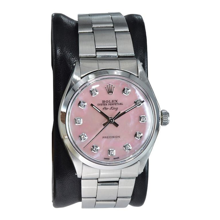 Modern Rolex Steel Air King with Custom Made Mother of Pearl Diamond Dial from 1972 For Sale