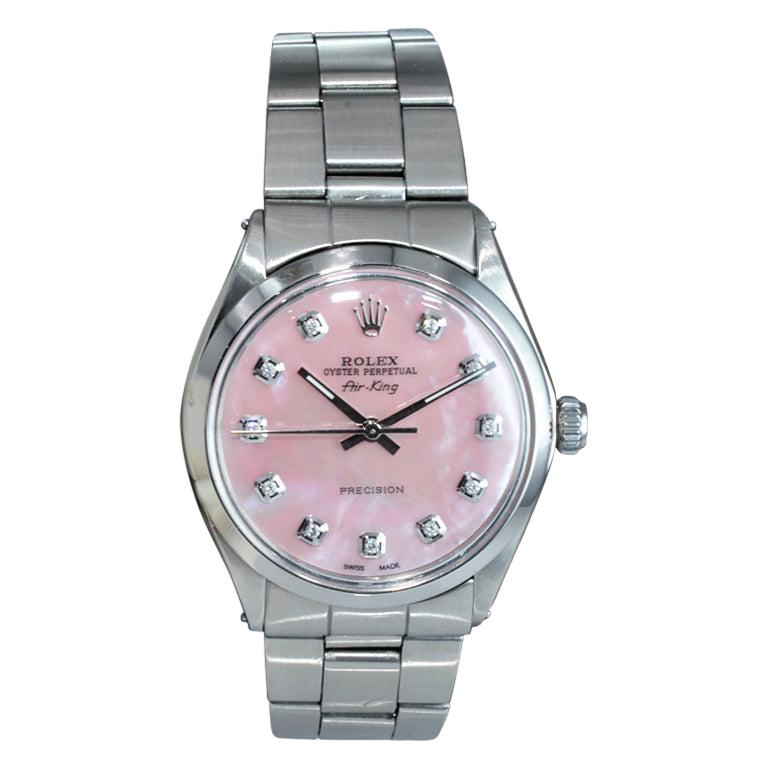 Rolex Steel Air King with Custom Made Mother of Pearl Diamond Dial from 1972 For Sale
