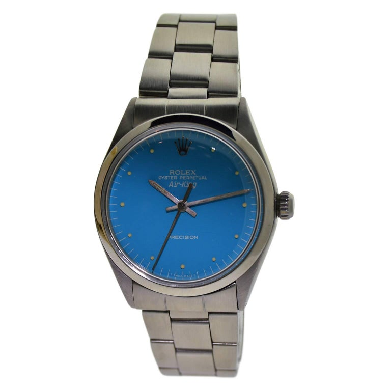 Rolex Stainless Steel Air King Powder Blue Dial Perpetual Wind Wristwatch