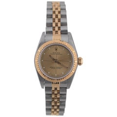Rolex Steel and Gold Champagne Dial Ladies Oyster Perpetual Ref.76243