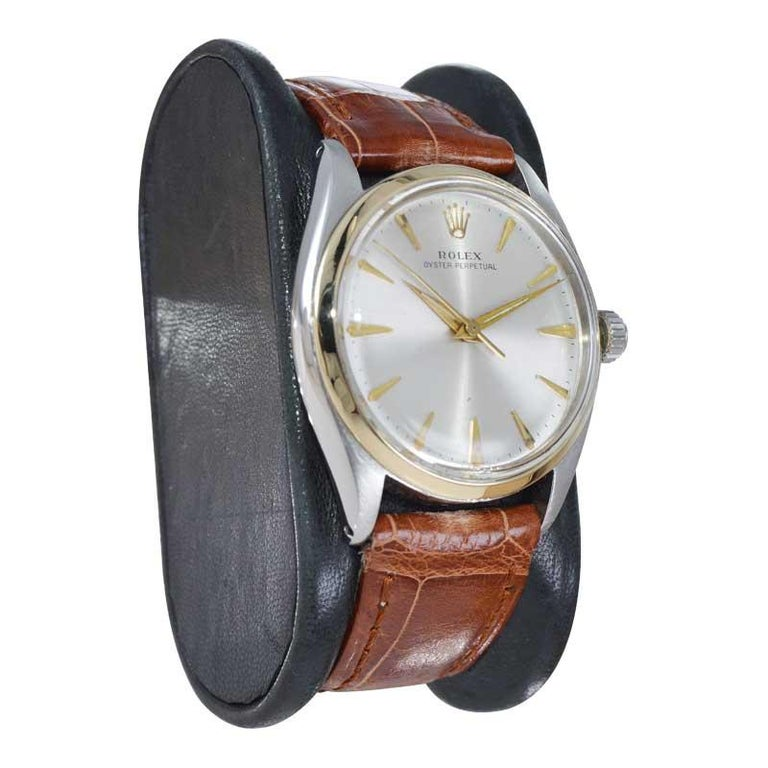Modern Rolex Steel and Gold with Original Dial Rare Model from Mid 1950s For Sale