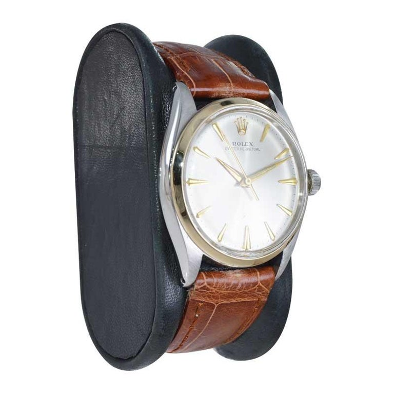 Women's or Men's Rolex Steel and Gold with Original Dial Rare Model from Mid 1950s For Sale