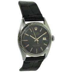 Rolex Steel and White Gold Datejust with Unusual Black Dial Rose Batons, 1962