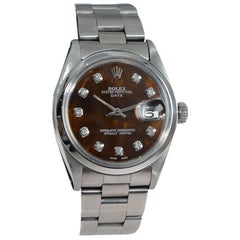 Rolex Steel Date Ref 1501 with Custom Mother of Pearl Diamond Dial from 1969