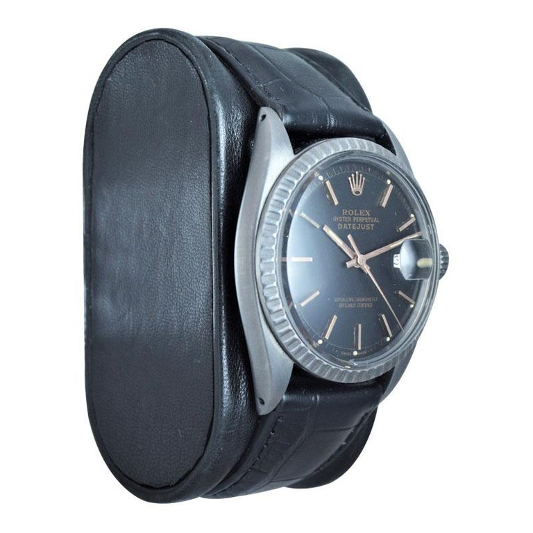 Modern Rolex Steel Datejust with Custom Carbonized Finish from 1964 Unusual Custom Dial For Sale