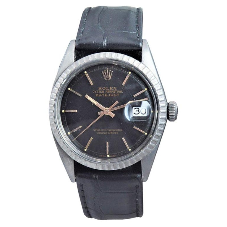 Rolex Steel Datejust with Custom Carbonized Finish from 1964 Unusual Custom Dial For Sale