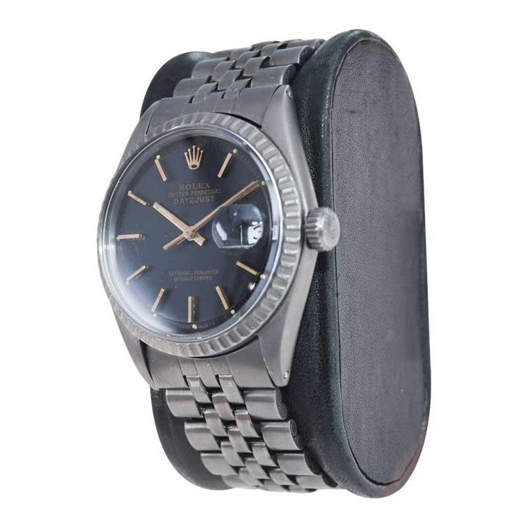 Modern Rolex Steel Datejust with Custom Carbonized Finish Unusual Custom Dial, Mid 60's For Sale