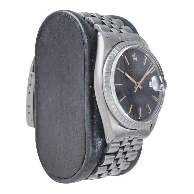 Women's or Men's Rolex Steel Datejust with Custom Carbonized Finish Unusual Custom Dial, Mid 60's For Sale