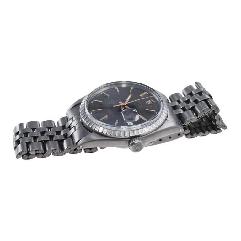 Rolex Steel Datejust with Custom Carbonized Finish Unusual Custom Dial, Mid 60's For Sale 2