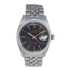 Rolex Steel Datejust with Custom Carbonized Finish Unusual Custom Dial, Mid 60's