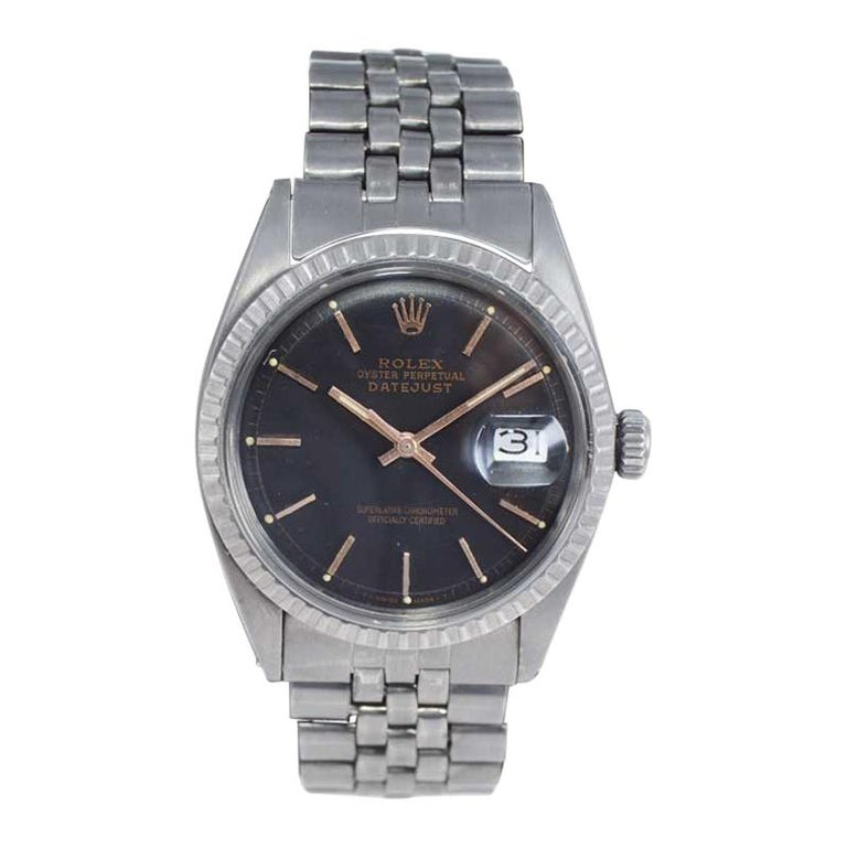 Rolex Steel Datejust with Custom Carbonized Finish Unusual Custom Dial, Mid 60's For Sale