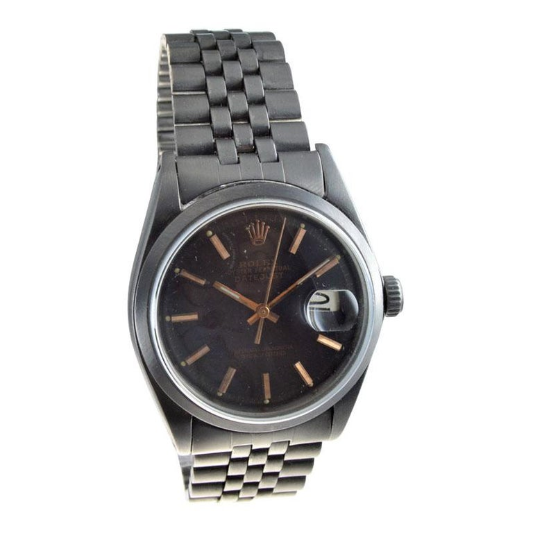 Women's or Men's Rolex Steel Datejust with Custom Dial and Unique Charcoal Case, Late 1960's For Sale