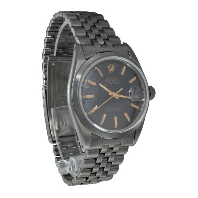 Rolex Steel Datejust with Custom Dial and Unique Charcoal Case, Late 1960's For Sale 1
